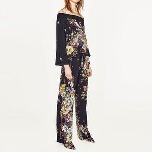 Zara scarf floral pants NWOT